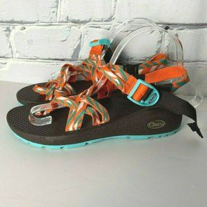 Chaco Sandals Size 7 Brown Orange Teal White Blue